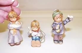 set 3 goebel berta hummel ornaments lullaby dolly feeding friends