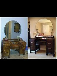 Antique Wood Vanity Staining A Wooden 1942 Vanity Table Back To Life Hometalk