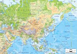 Physical Maps Large Physical Map Of Asia With Major Roads And Major Cities