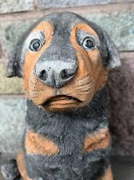 1 stone animal rottweiler guard dog puppy garden display statue