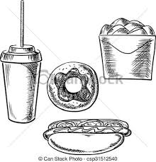 eps vector of fast food dessert and drink sketch icons fast