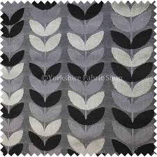 geometric leaf pattern fabric black grey colours velvet upholstery