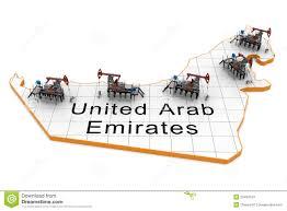 United Arab Emirates Map Oil Pump Jacks On A Map Of United Arab Emirates Stock Photos