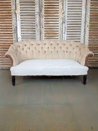 High Back Settee With Arms Large French 19th Century Tufted Sofa With Rolled Arms And Back