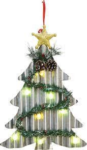 led lighted corrugated metal tree or wreath light up