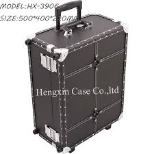 Rolling Makeup Case With Lights Black Faux Leather Professional Rolling Makeup Studio Case With