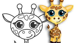 drawn giraffe cute animal pencil and in color drawn giraffe cute