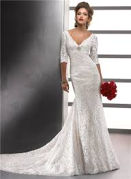 vintage wedding dresses with sleeves mermaid v neck empire ivory vintage lace wedding dress with