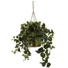 silk plants 30 inch wide artificial philodendron hanging basket 6736