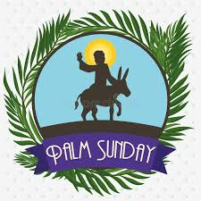 palms for palm sunday palms around circle with jesus in a for palm sunday vector