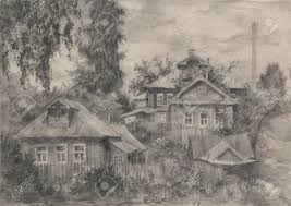 drawing houses pencil drawing of an old street with wooden houses in a russian