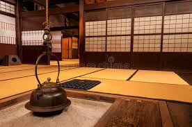 japanese home interior traditional japanese home interior with hanging tea pot stock photo
