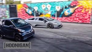 lamborghini smart car hoonigan dt 058 lamborghini vs electric smart car drag race