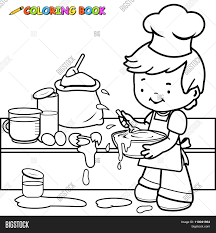 little boy cooking and making a mess coloring book page stock