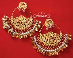 punjabi jhumka earrings made 24 ct gold plated traditional punjabi jewellery morewali