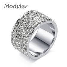 steel rings images Modyle fashion full crystal big wedding rings for women romantic jpg