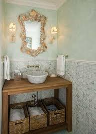Seashell Bathroom Ideas Colors Green U0026 Brown Beachy Cottage Seashell Bathroom Design With Green