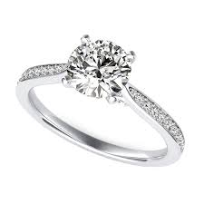 40000 engagement ring cathedral engagement ring with pave side stones and scroll on the