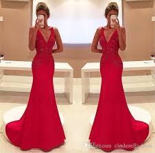 2017 gorgeous red mermaid evening dresses v neck appliques