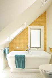 bathroom asian style bathroom with yellow walls and ceiling also