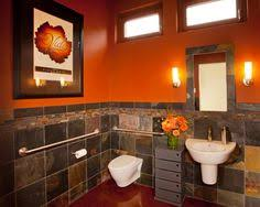 home sweet home bath room i love the burnt orange and