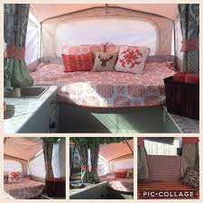 our pop up camper reveal after we finished remodeling our 2001