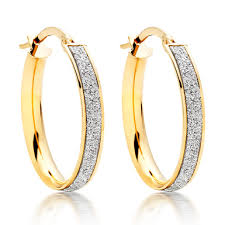 9ct gold earrings 9ct gold glitter hoop earrings 0007959 beaverbrooks the jewellers