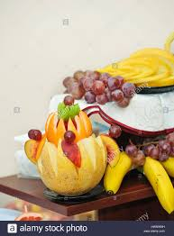 fruit arrangment carved fruit arrangement fresh various fruits stock photo