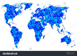 Double Map Blue Worlds Map Plugs Computer Cords Stock Photo 403404250