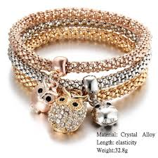 price bracelet images 3 pcs set crystal owl crown elephant charm bracelets diyosworld jpg