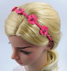leather hair accessories children flower braided hairband with rhinestone imitation leather