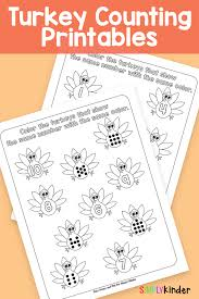 turkey counting printables simply kinder