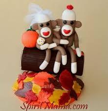 sock monkey wedding cake topper custom made in your by spiritmama