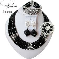 african bead necklace images Silver and black african bead necklaces nigerian wedding beads jpg