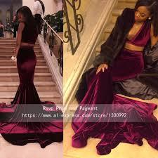 deep v neck sleeveless velvet two piece burgundy prom dresses