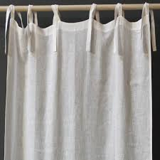 Linen Voile Curtain Fabric Pom Pom At Home Tie Top Linen Voile Curtain Panel