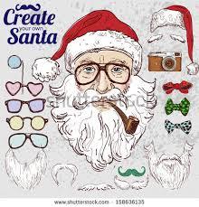 create hipster santa color stock vector 158636135