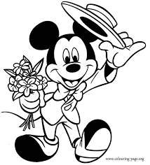 mickey mouse s day mickey mouse mickey holding flowers coloring page