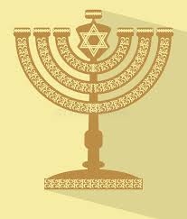 candeliere ebraico menorah sette ramificato ebreo con la stella di davide