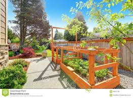 backyard garden bed with trellis stock photo image images with