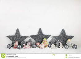 shabby chic wooden christmas background in white and grey stock