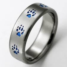 blue titanium wedding band duluth 3 titanium ring with wolf tracks titanium wedding rings