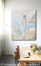 giclee print abstract angel painting modern gallery wall art blue
