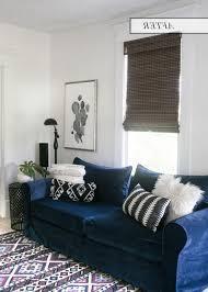 navy blue velvet sofa awesome blue sofa slipcovers 1 navy blue velvet sofa after