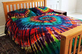 Tie Dye Bed Set Rainbow Tie Dye 100 Cotton Duvet Cover Set
