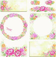 photo frame cards pink flower frame and cards vector free vector in encapsulated
