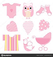 baby shower illustration with cute pink baby owl baby tools and