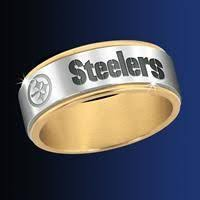pittsburgh wedding bands pittsburgh steelers silver beveled ring with 18k gold interior