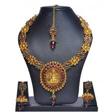 big gold fashion necklace images Big lakshmi dollar with red and green stoned necklace set gold plated jpg