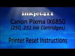 reset pixma ix6560 canon pixma ix6850 printer reset procedure 250 251 ink cartridges